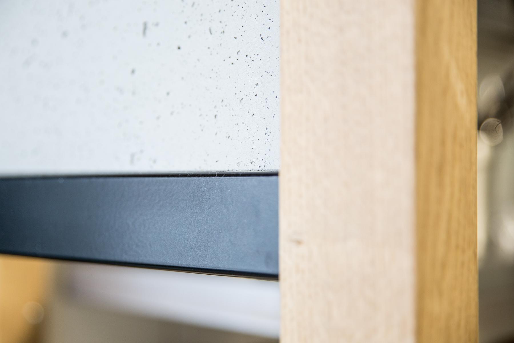 Détail cloison Chêne béton métal restaurant architecture Dircks